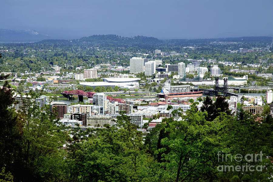 View Of Portland Oregon From Pittock Mansion  Photograph  - View Of Portland Oregon From Pittock Mansion  Fine Art Print