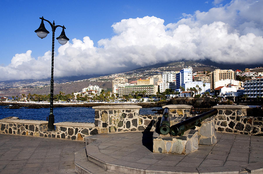 View Of Puerto De La Cruz From Plaza De Europa Photograph  - View Of Puerto De La Cruz From Plaza De Europa Fine Art Print