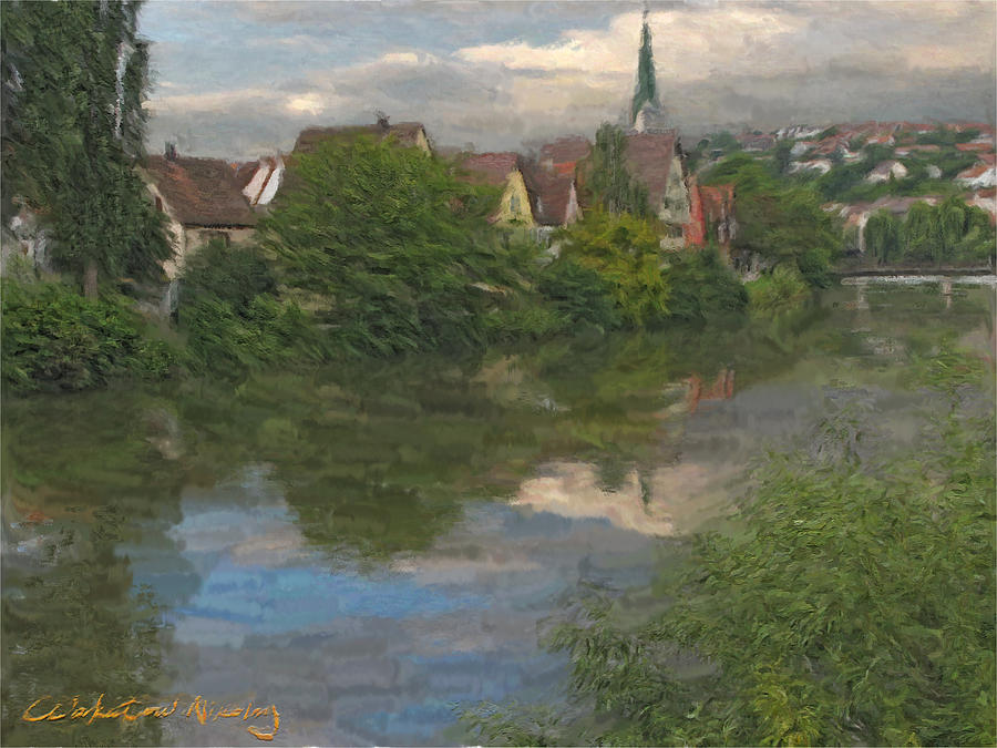 Ancient Digital Art - View Of The Cathedral In Rottenburg On Neckar by Nikolay Vakatov