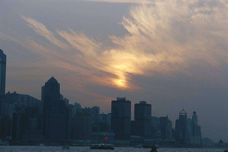 View Of The Hong Kong Skyline At Sunset Photograph  - View Of The Hong Kong Skyline At Sunset Fine Art Print