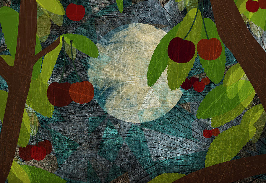 View Of The Moon And Cherries Growing On Trees At Night Digital Art  - View Of The Moon And Cherries Growing On Trees At Night Fine Art Print