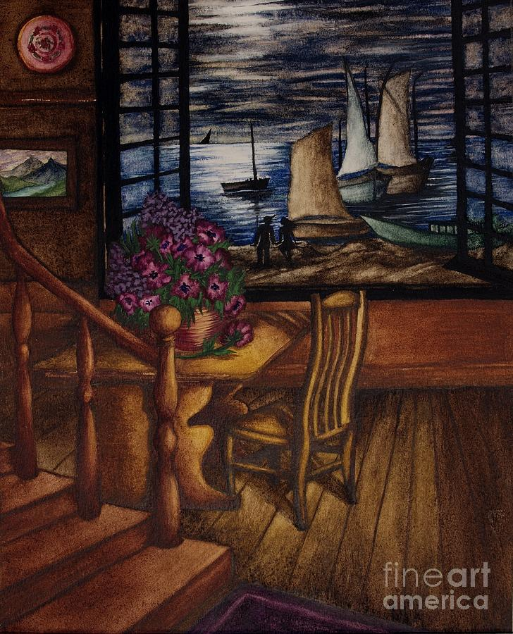 View Of The Moon And The Sea Painting