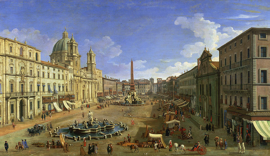 View Of The Piazza Navona Painting