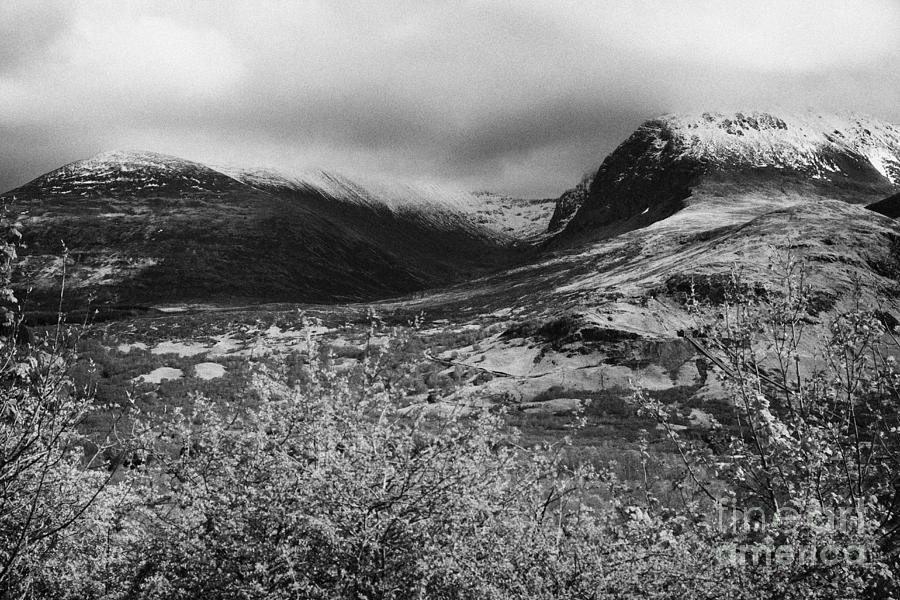 View Of The Summit Of Ben Nevis Snow Capped And Shrouded In Mist In Spring Near Fort William Scotlan Photograph