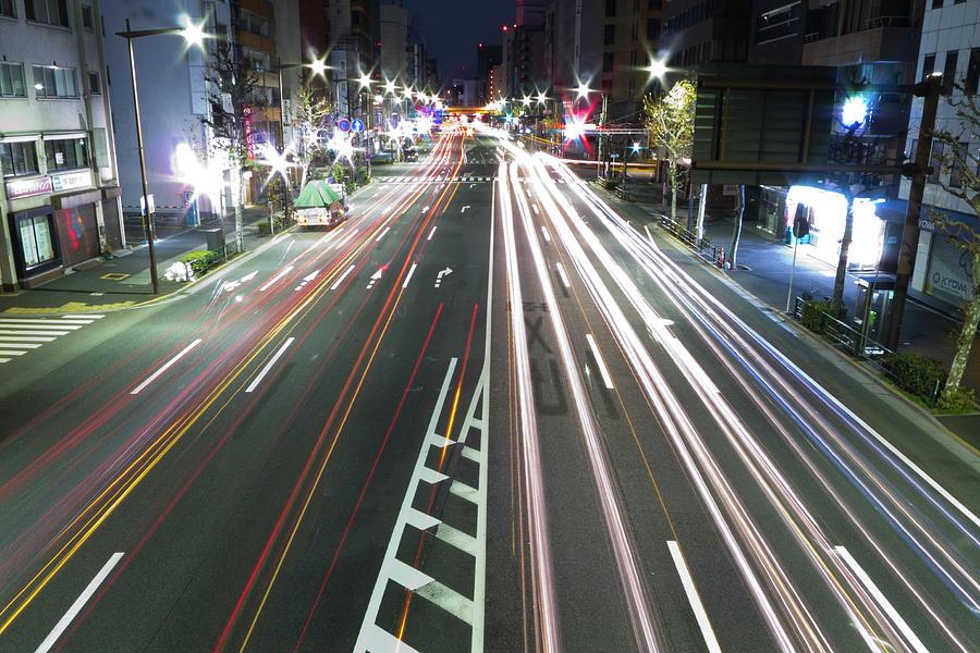Horizontal Photograph - View Of Traffic At Nihonbashi, Tokyo, Japan by Billy Jackson Photography