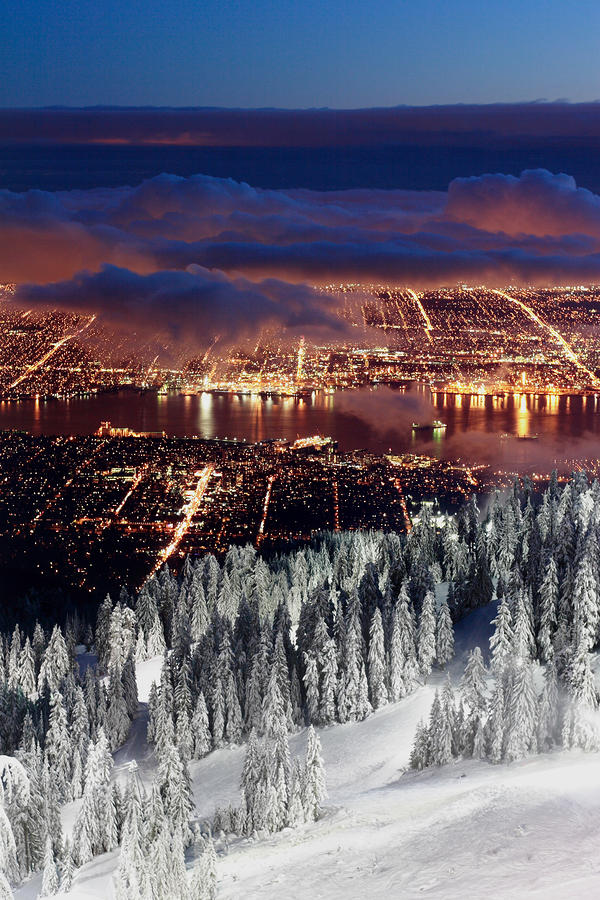 View Of Vancouver From Grouse Mountain At Sunset Photograph  - View Of Vancouver From Grouse Mountain At Sunset Fine Art Print