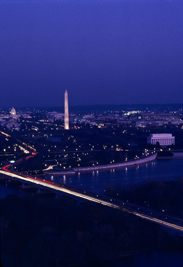 View Of Washington D.c. At Night Photograph  - View Of Washington D.c. At Night Fine Art Print