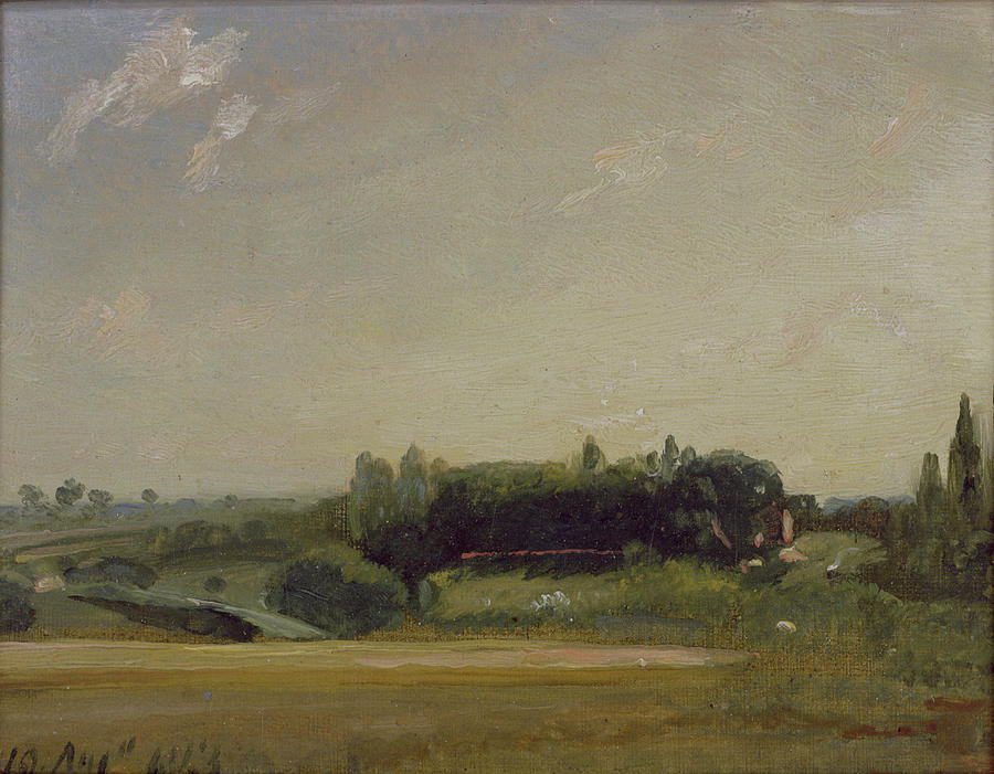 View Painting - View Towards The Rectory - East Bergholt by John Constable