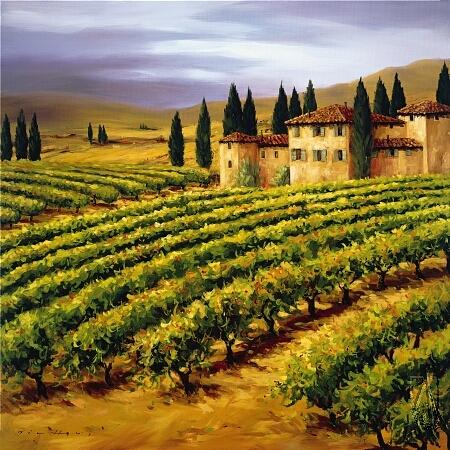 villa in the Vineyard Painting