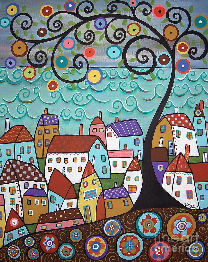 Village By The Sea Painting  - Village By The Sea Fine Art Print