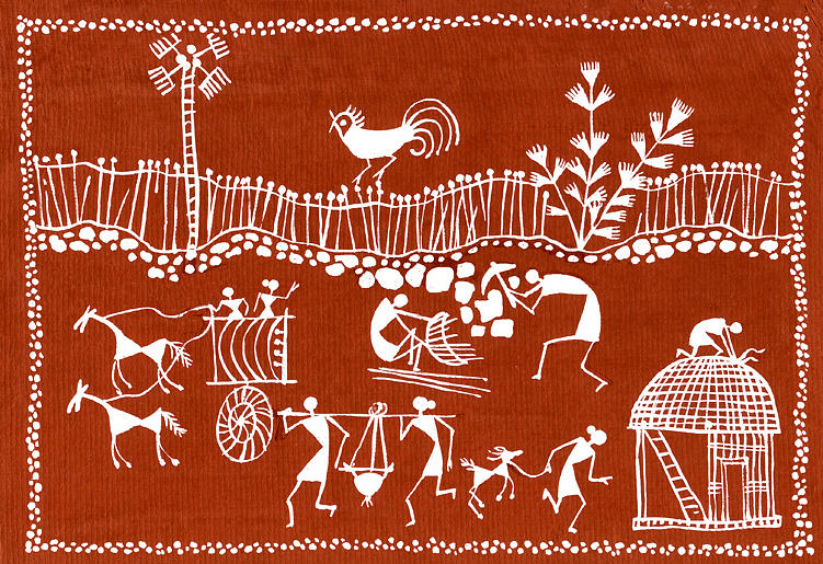 Village Scene In Warli Tribal Art Painting  - Village Scene In Warli Tribal Art Fine Art Print