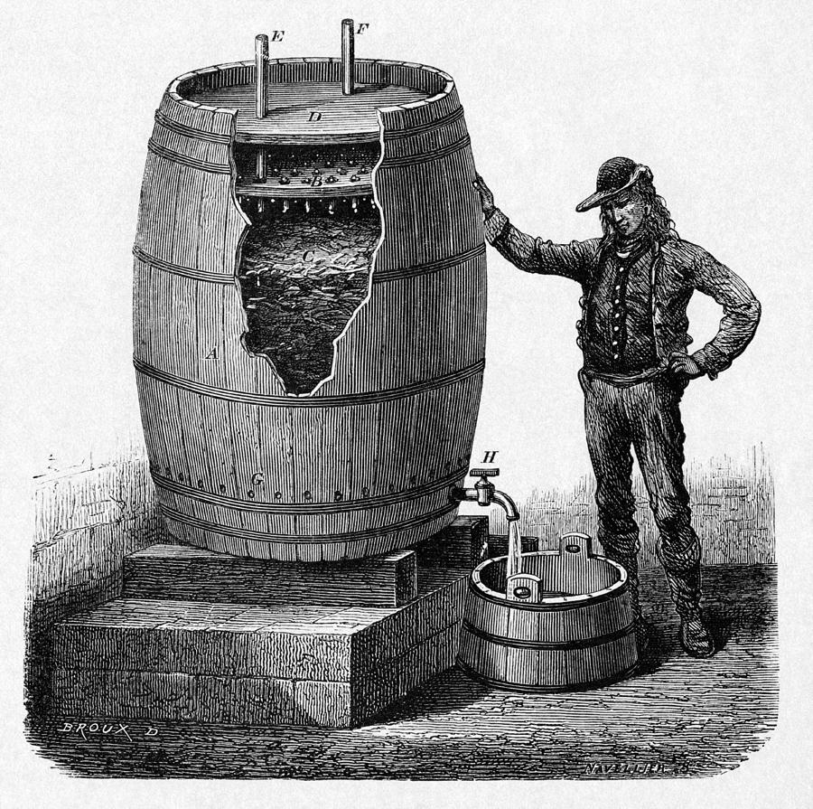 Vinegar Production, 19th Century Photograph  - Vinegar Production, 19th Century Fine Art Print