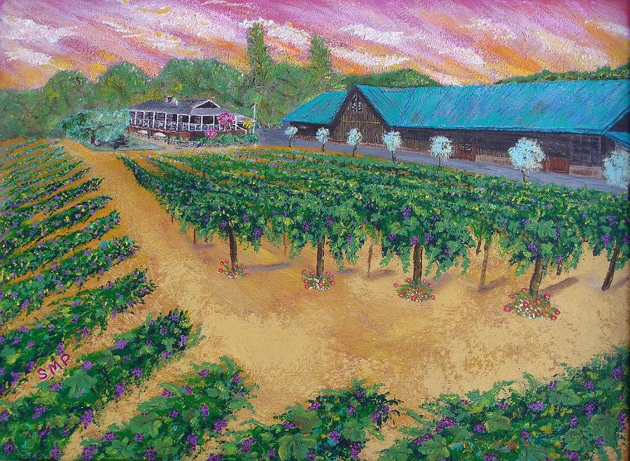 Vineyard Sunset Painting  - Vineyard Sunset Fine Art Print