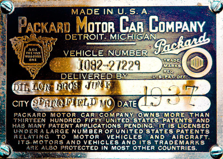Vintage 1937 Packard Vin Plate Photograph