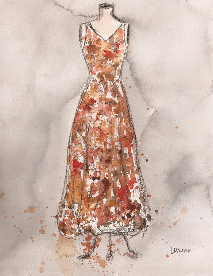 Vintage Autumn Mum Dress Painting  - Vintage Autumn Mum Dress Fine Art Print
