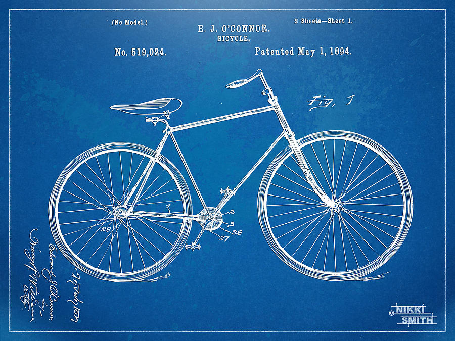 Vintage Bicycle Patent Artwork 1894 Digital Art  - Vintage Bicycle Patent Artwork 1894 Fine Art Print