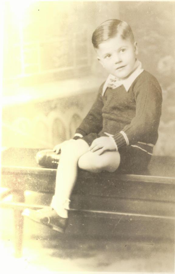 Digitized Photograph - Vintage Boy Crossed Leg by Alan Espasandin