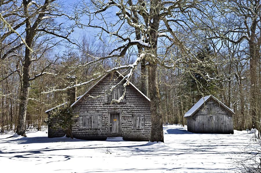 Antique Photograph - Vintage Buildings In The Winter Snow by Susan Leggett