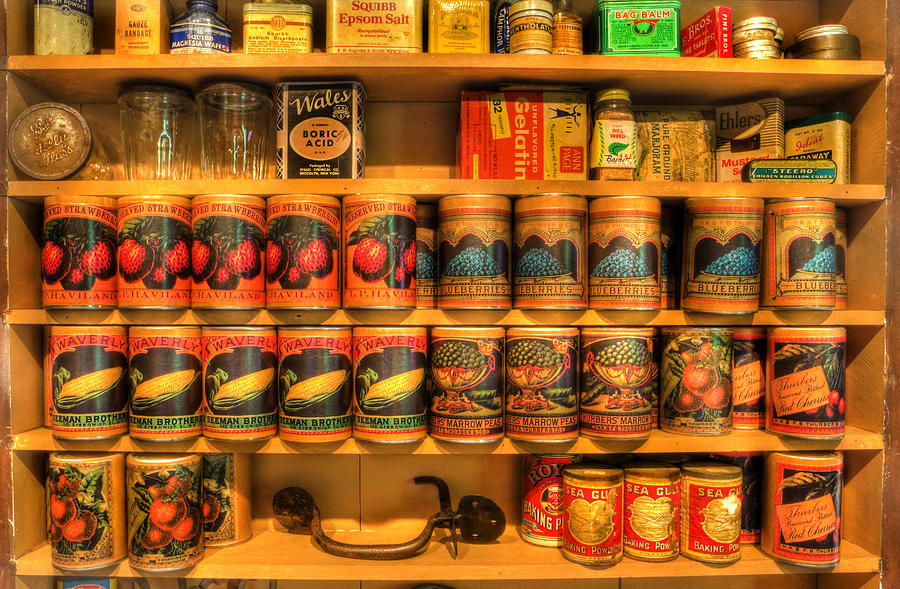 Vintage Canned Goods - General Store Vintage Supplies - Nostalgia Photograph  - Vintage Canned Goods - General Store Vintage Supplies - Nostalgia Fine Art Print