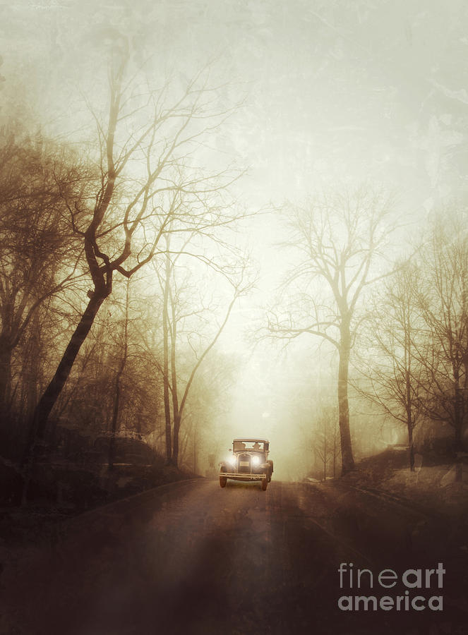 Vintage Car On Foggy Rural Road Photograph  - Vintage Car On Foggy Rural Road Fine Art Print