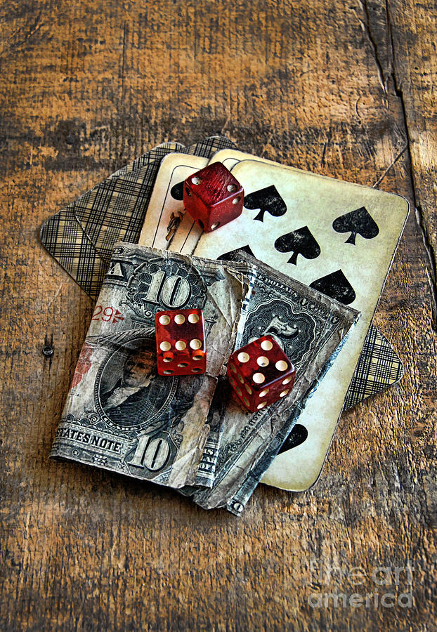 Vintage Cards Dice And Cash Photograph  - Vintage Cards Dice And Cash Fine Art Print