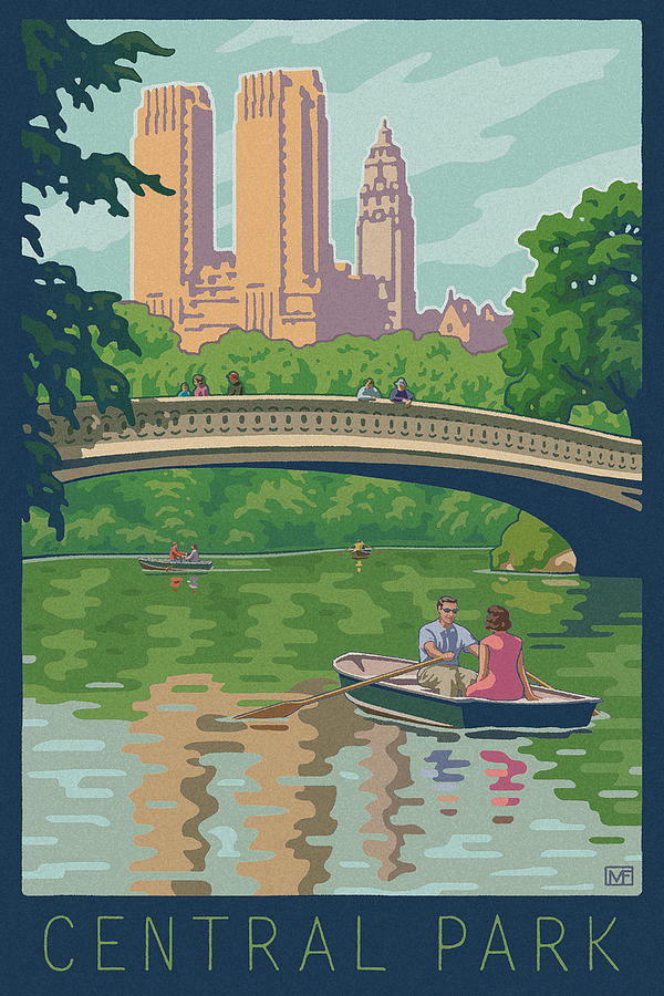 Vintage Central Park Digital Art  - Vintage Central Park Fine Art Print