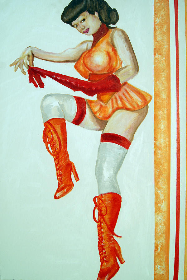 Vintage Cheerleader Painting