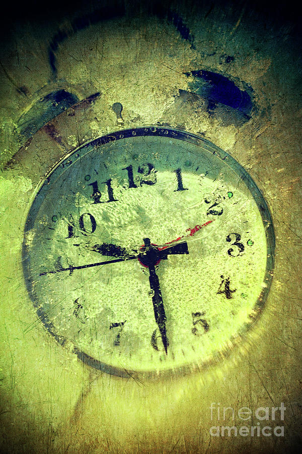 Vintage Clock Frozen In Ice Photograph