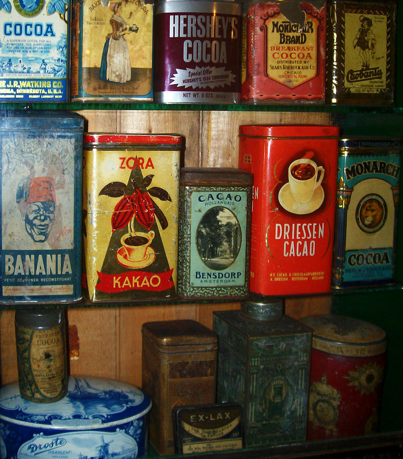 Vintage Cocoa Containers Photograph