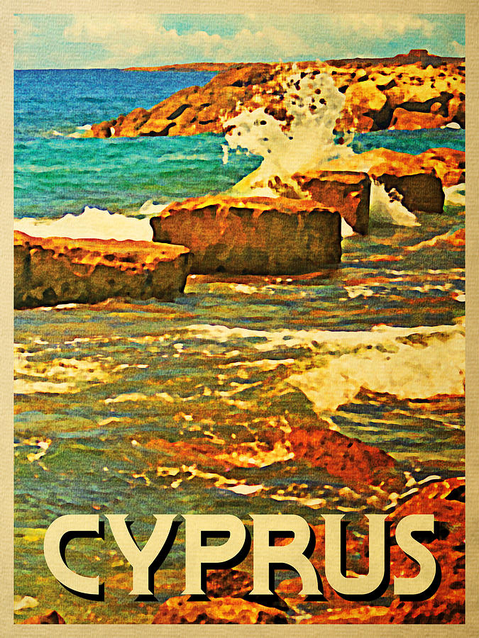 Vintage Cyprus Rocky Shore Digital Art
