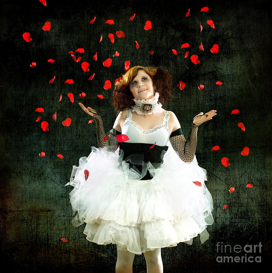 Vintage Dancer Series Raining Rose Petals  Photograph