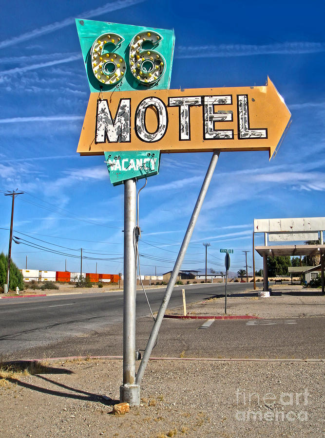 Route 66 Motel Sign Painting - Vintage Desert Motel Sign by Gregory Dyer
