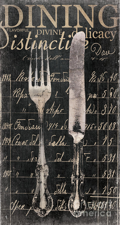 Dining Painting - Vintage Dining Utensils In Black  by Grace Pullen