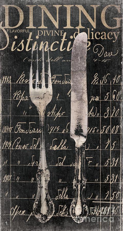Vintage Dining Utensils In Black  Painting