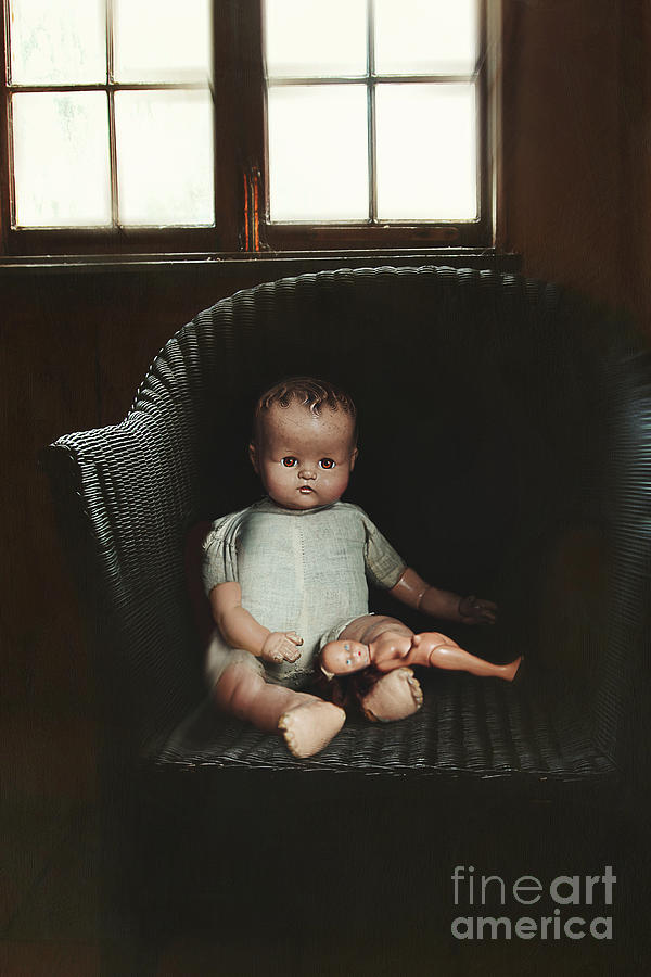 Vintage Dolls On Chair In Dark Room Photograph  - Vintage Dolls On Chair In Dark Room Fine Art Print
