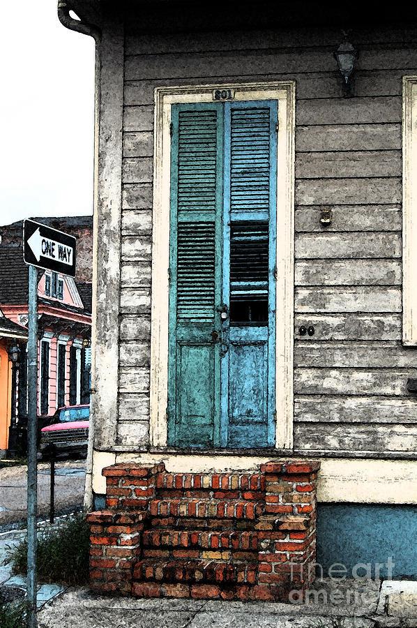 Vintage dual color wooden door and brick stoop french for New door photos