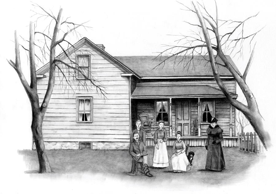 Vintage Farm House With Family Drawing By Joyce Geleynse