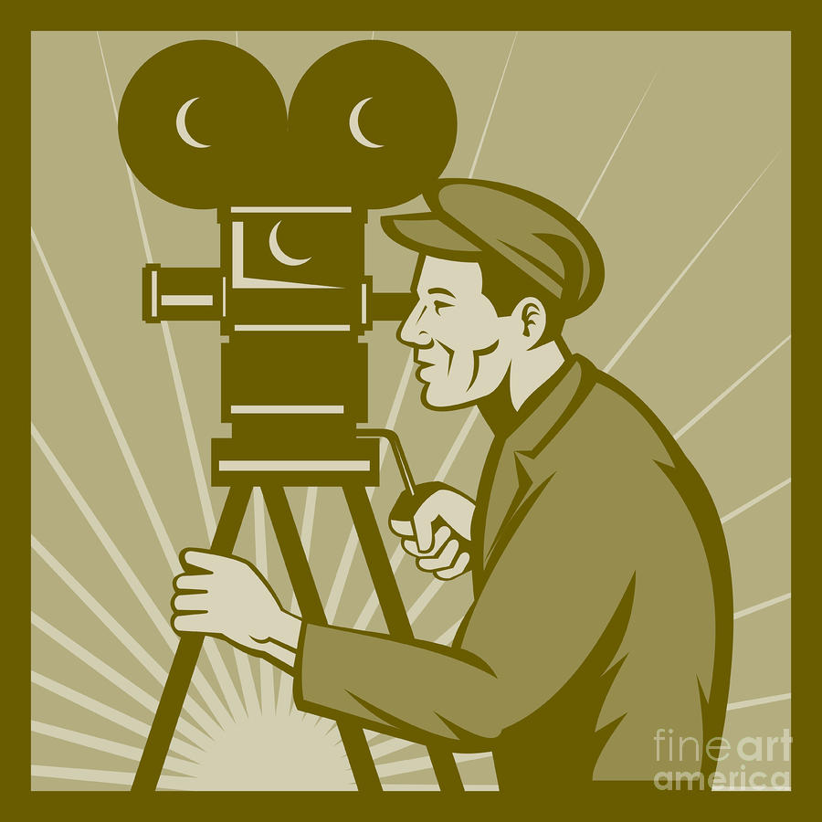Vintage Film Camera Director Digital Art  - Vintage Film Camera Director Fine Art Print