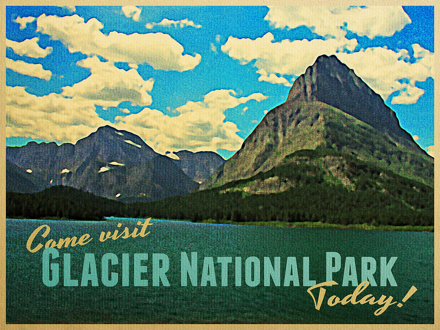 Vintage Glacier National Park Digital Art  - Vintage Glacier National Park Fine Art Print