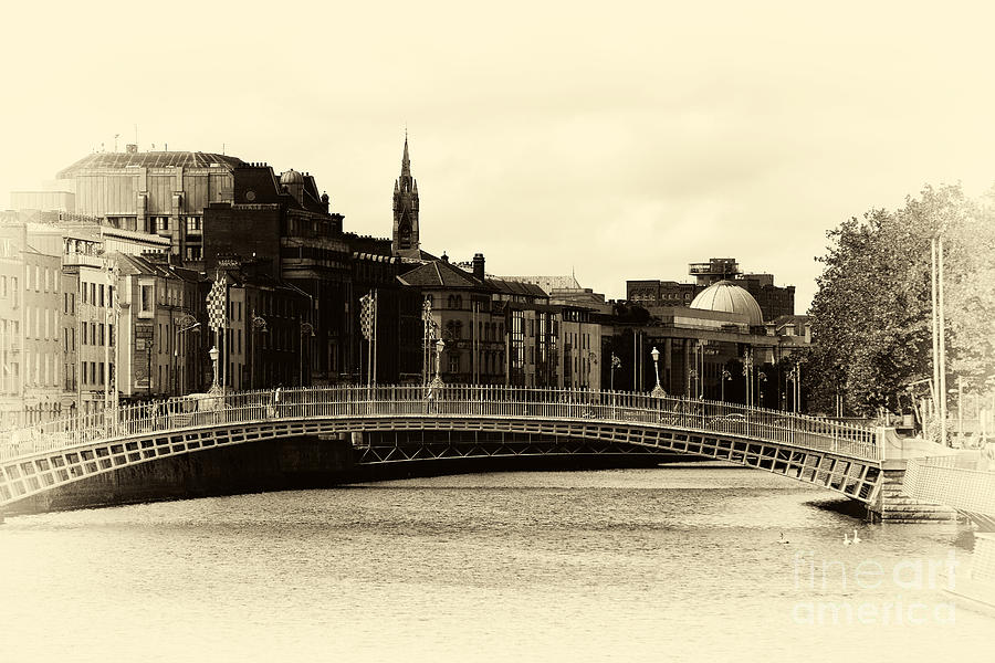 Vintage Hapenny Bridge Photograph  - Vintage Hapenny Bridge Fine Art Print