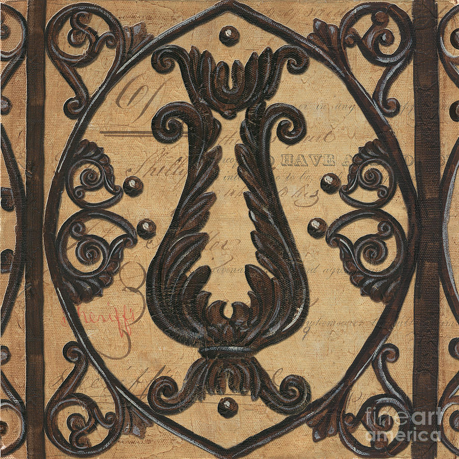 Vintage Iron Scroll Gate 2 Painting  - Vintage Iron Scroll Gate 2 Fine Art Print