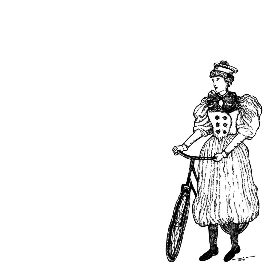 Vintage Lady With Bicycle Drawing