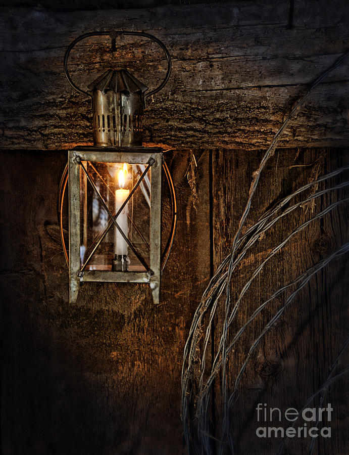 Vintage Lantern Hung In A Barn Photograph  - Vintage Lantern Hung In A Barn Fine Art Print
