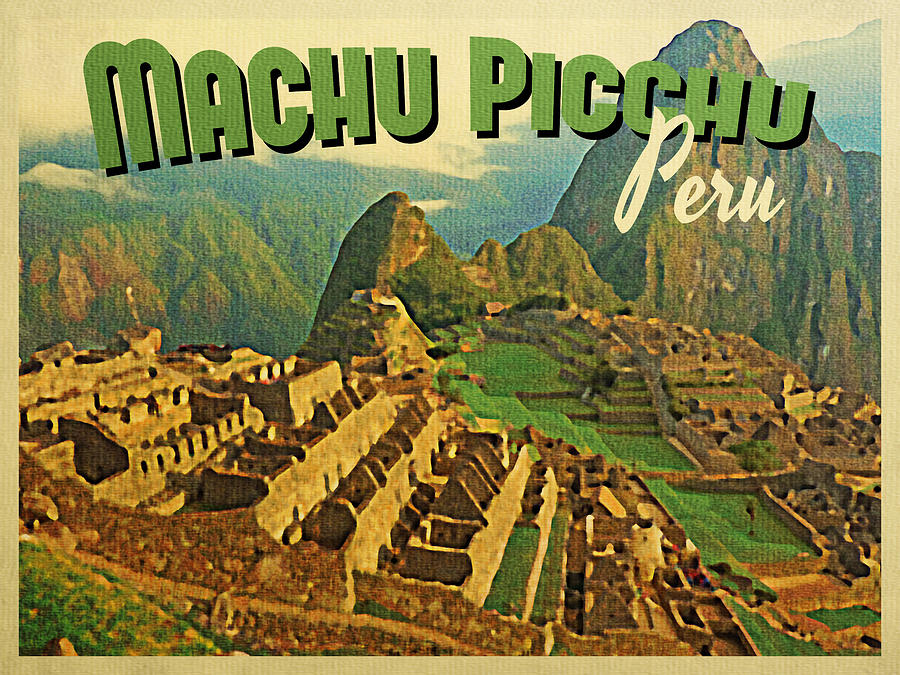 Vintage Machu Picchu Peru Digital Art