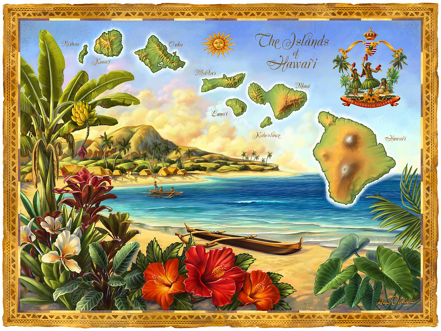 Vintage Map Of Hawaii Mixed Media  - Vintage Map Of Hawaii Fine Art Print
