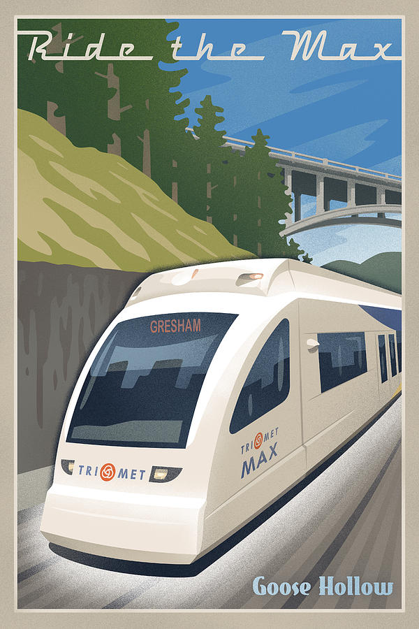 Vintage Max Light Rail Travel Poster Digital Art  - Vintage Max Light Rail Travel Poster Fine Art Print