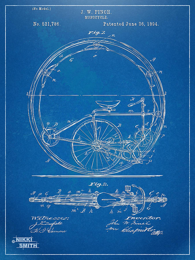 Vintage Monocycle Patent Artwork 1894 Digital Art  - Vintage Monocycle Patent Artwork 1894 Fine Art Print