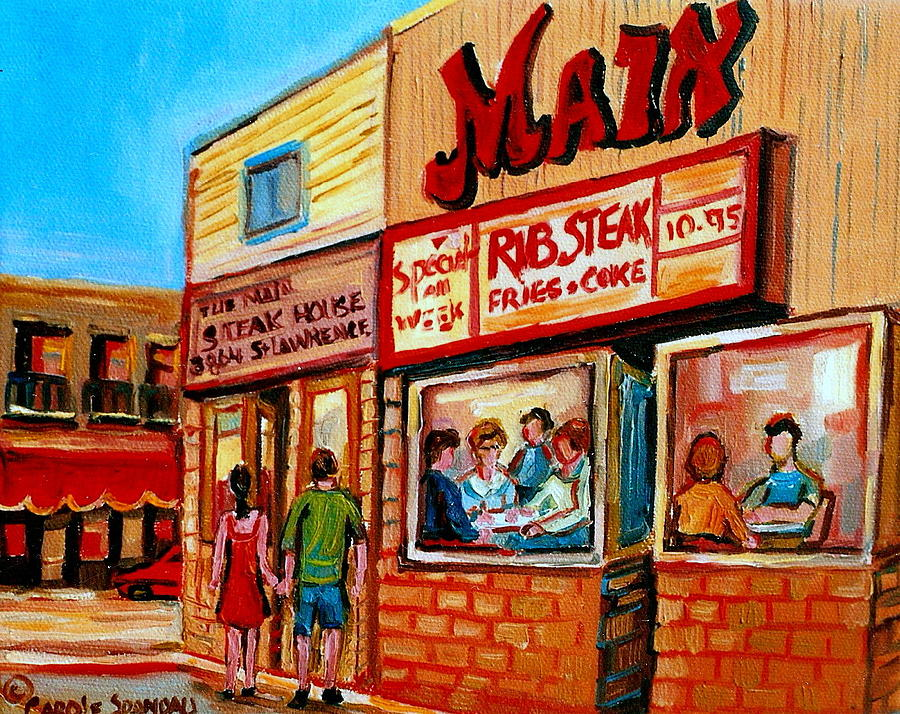 The Main Steakhouse Painting - Vintage Montreal City Scene Boulevard St. Laurent by Carole Spandau