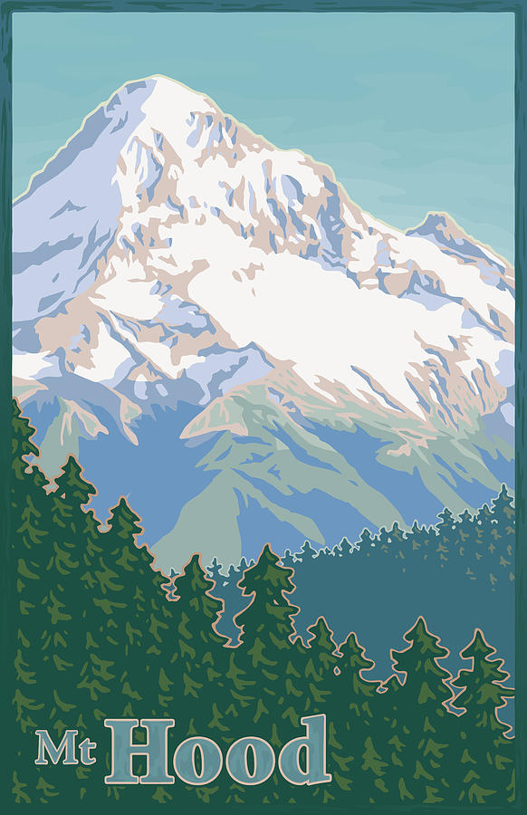 Vintage Mount Hood Travel Poster Digital Art