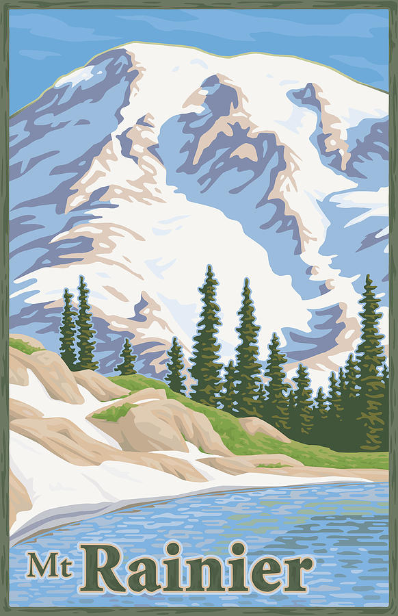Vintage Mount Rainier Travel Poster Digital Art  - Vintage Mount Rainier Travel Poster Fine Art Print